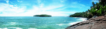 View From Royal Island To The Devil's Island In French Guiana. Tropical  Beach Adventure Concept.