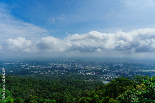 Staande foto Blauwe jeans Blue sky and cloud with meadow tree. Plain landscape background for summer poster of thailand.