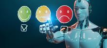 White Cyborg Using Thin Line Customer Satisfaction Rating