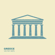 Greek parthenon icon in flat style with scuffing effect
