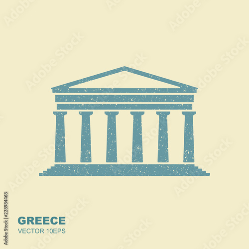Greek parthenon icon in flat style with scuffing effect Fototapete