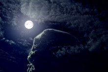 Night Sky, Full Moon, Veil On The Clouds