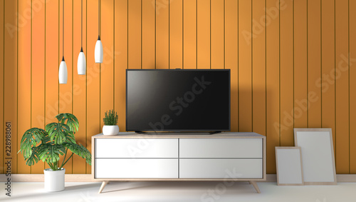 TV on cabinet in modern living room on yellow wall ...