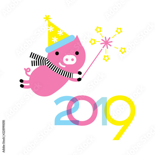 Chinese 2019 New Year Symbol Cute Pig Character Wearing Santa Hat