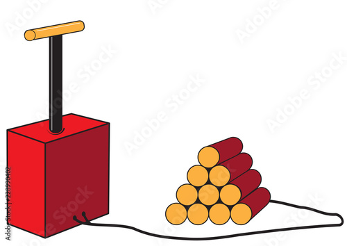Tela  Dynamite sticks with detonator