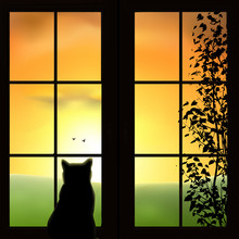 A Cat Looking Out A Window. Green Field, Sunset, Sunrise, Tree, Birds. Orange Sky, Silhouettes. Vector Illustration.