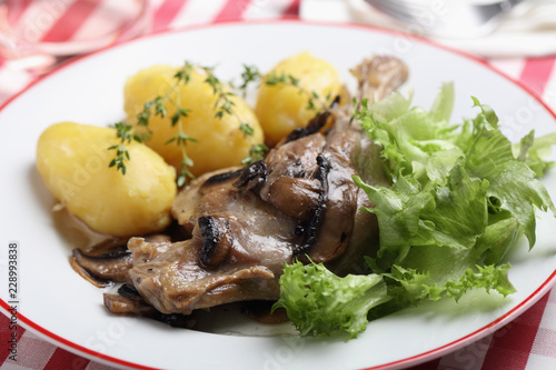 Poster Assortiment Roasted duck leg with vegetables