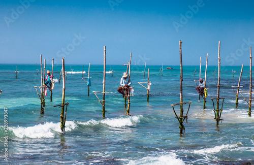Obraz na plátně WELIGAMA SRI LANKA - JAN 6, 2017: Unidentified local fishermen are fishing in unique style on Jan 7, 2017