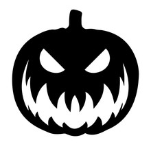 Simple, Black, Silhouette Carved Halloween Pumpkin. Scary Carved Pumpkin Icon. Isolated On White