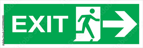 Leinwand Poster fire emergency exit sign