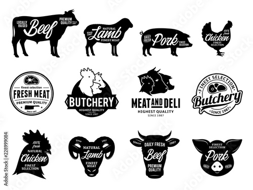 Vector Butchery Logo And Farm Animals Icons