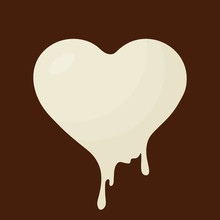 Simple, Flat, Melting Chocolate Heart Icon. White Chocolate. Isolated On A Brown Background