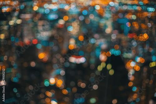 Obraz Blurred bokeh Chicago abstract cityscape skyline at night - fototapety do salonu