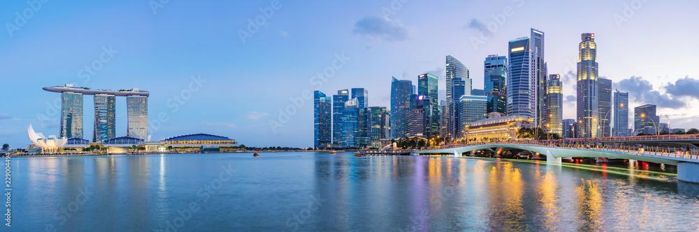 Fototapeta Singapore financial district skyline at Marina bay on twilight time, Singapore city, South east asia.
