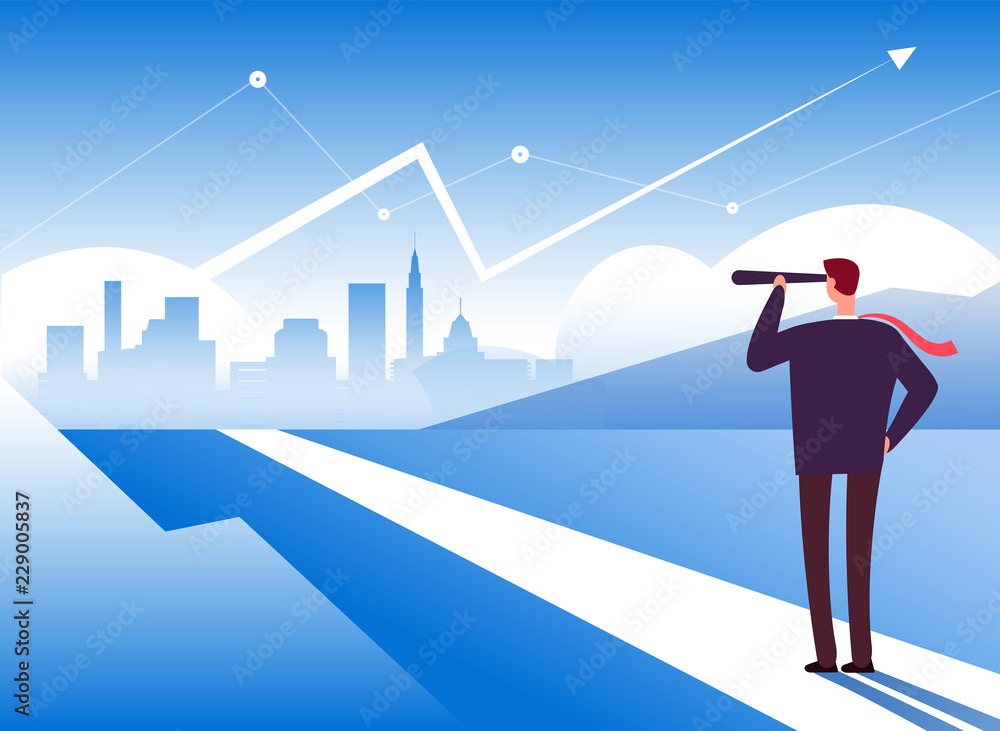 Fototapeta Beginning way. Businessman at road beginning. Opportunity and leadership, profit and new challenge motivation business vector concept. Illustration of businessman direction vision in telescope