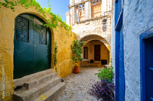 colorful street in old town in Rhodes, Greece