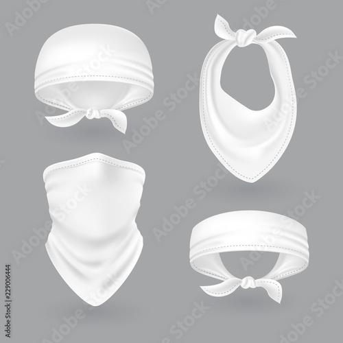 White bandana  Cowboy or biker face scarf, bandanna  Blank