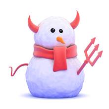 Vector 3d Devil Snowman With S...