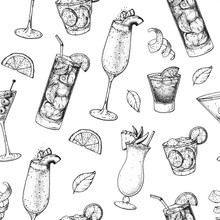 Cocktails Hand Drawn Seamless ...
