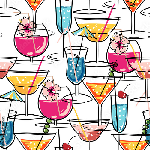 hand-drawn-summer-cocktail-seamless-pattern-with-hibiscus-flowers-vector-illustration-for-fashion-fabric-and-all-print
