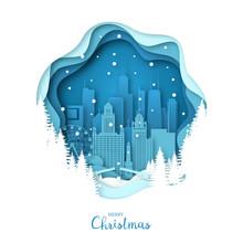 Snowy Chicago City. Merry Chri...