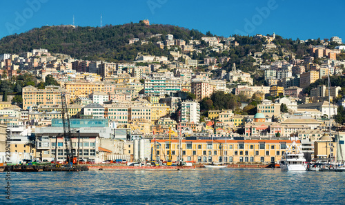 Tuinposter Mediterraans Europa Image of colorful houses near Old Port of Genoa in Italy