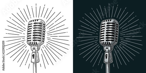 Fotografie, Obraz  Microphone with ray. Vintage vector black engraving illustration