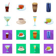 Vector illustration of drink and bar symbol. Collection of drink and party stock vector illustration.