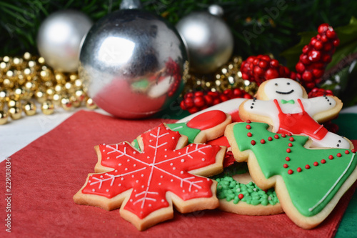 Colorful Christmas Cookies With Festive Decoration Buy This Stock