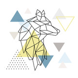 Geometric Wolf silhouette on triangle background. Polygonal Wolf emblem. Vector illustration. - 229013487