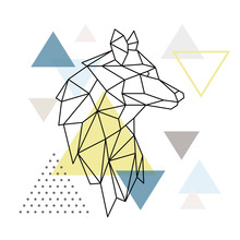 Geometric Wolf Silhouette On T...