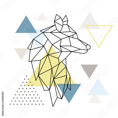 Платно  Geometric Wolf silhouette on triangle background