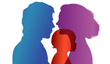 Adoption. Pair Of Parents Adopt A Child. Vector Color Profile Silhouette