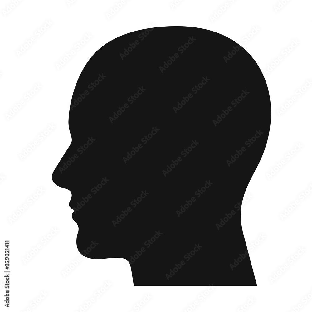 Fototapeta Human head profile black shadow silhouette