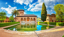 Palace In The Famous Alhambra In Granada, Spain