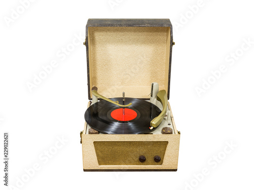 Cuadros en Lienzo Vintage turntable with red record album isolated on white.