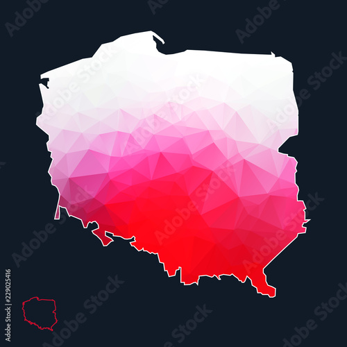 Fotomural  Poland lowpoly map vector illustration