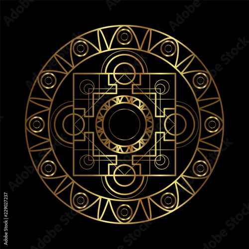 Vector ornamental Buddhist symbol, ethnic art, patterned
