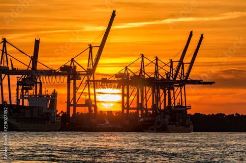 Plakat Dźwigi portowe w Hamburgu, na Łabie