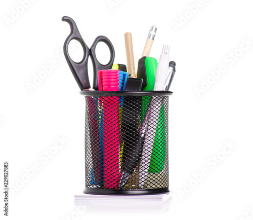 Fotografia Stationery set in stand on a white background. Isolation