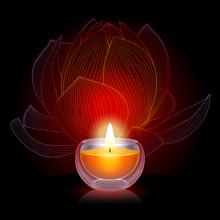 Burning Candle With Lotus