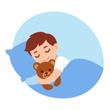 Sleeping Boy With Teddy Bear