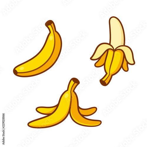 Fotografie, Obraz Cartoon bananas illustration set