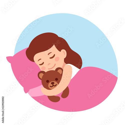 Sleeping girl with teddy bear