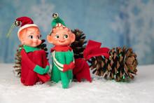 Vintage Christmas Elf Knee Huggar Tree Ornament
