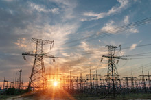 Distribution Electric Substation With Power Lines And Transformers