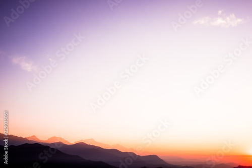 Canvas Prints Cuban Red The beautiful landscape of the Himalaya mountains, Nepal. Sunrise time. Layered mountains. Pokhara, Nepal. Image with copy space. Nature background. Mountains background. Magic moment at the morning.