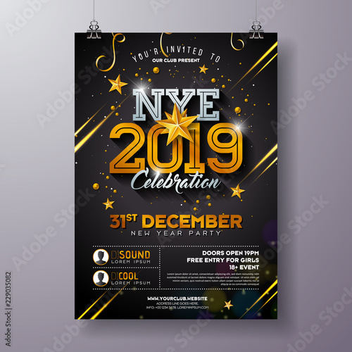 Canvas Print 2019 New Year Party Celebration Poster Template Illustration with Shiny Gold Number on Black Background