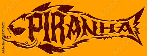 Valokuva  Piranha vector lettering with the shape of a fish, extreme style emblem
