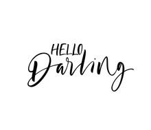 Hello Darling Card. Hand Drawn...